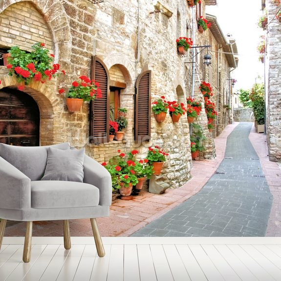 Tuscan Hill Town mural wallpaper room setting