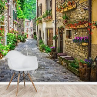 Tuscan Old Town Street Wallpaper Wall Murals
