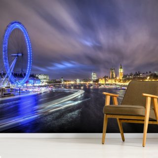 Light Trails up The Thames Wallpaper Wall Murals