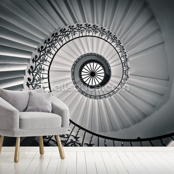 The Tulip Staircase, Greenwich wallpaper mural room setting
