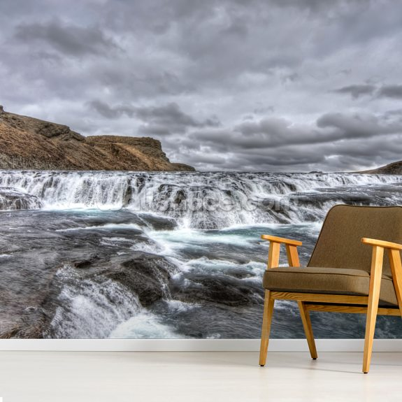 The river flows to Gulfoss falls, Iceland wall mural room setting