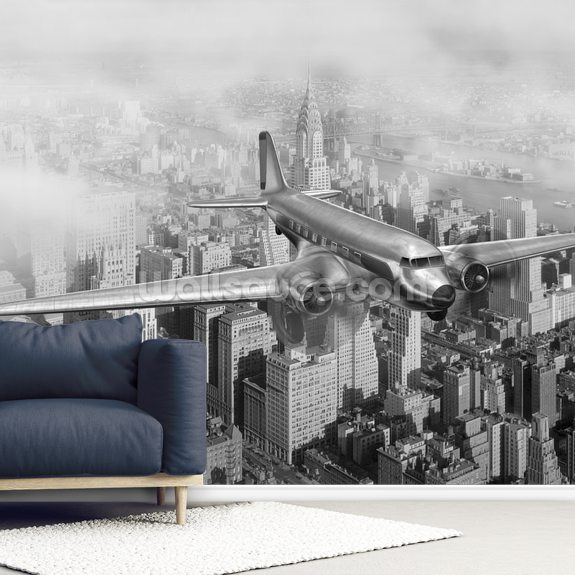 DC-3 Over NYC mural wallpaper room setting