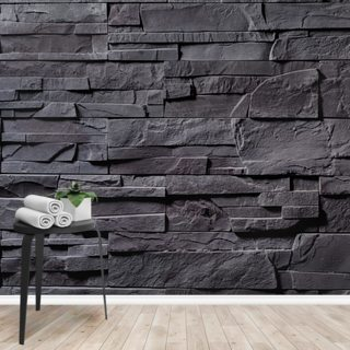 Stone Wall - Charcoal Grey Wallpaper Wall Murals