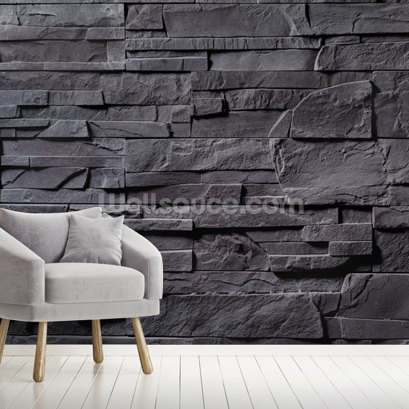 Stone Wall - Charcoal Grey mural wallpaper room setting