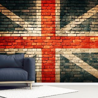 Union Jack on Old Brick Wallpaper Wall Murals