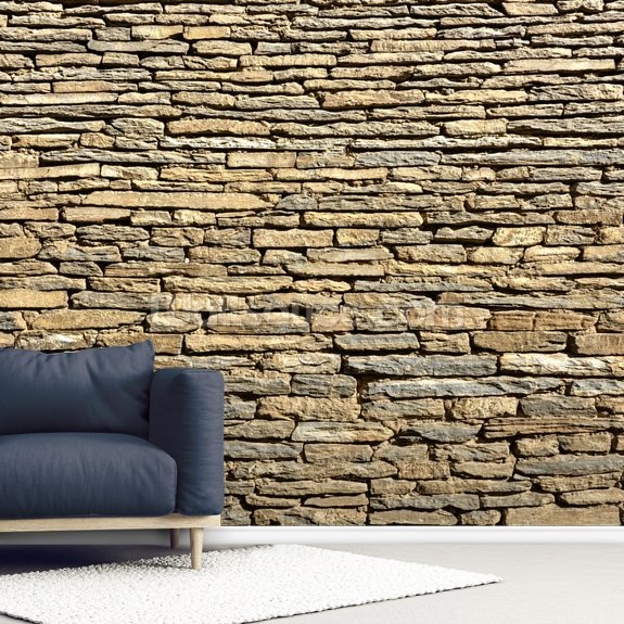 Stone Wall - Sandstone wallpaper mural room setting