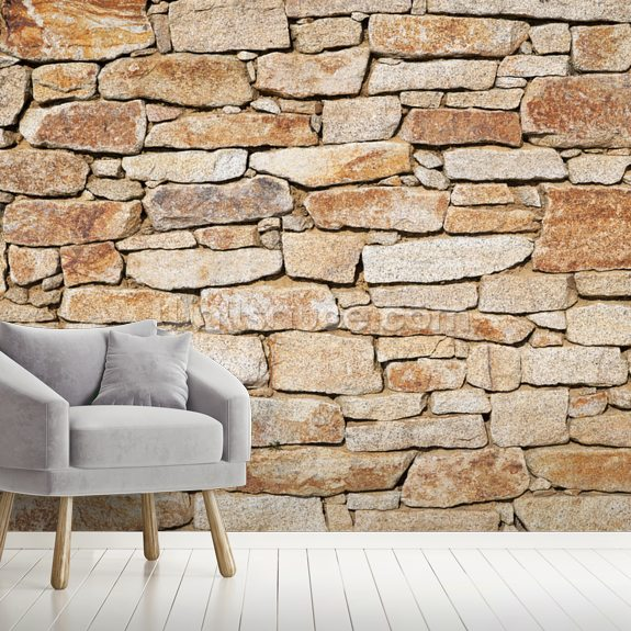 Natural Stone mural wallpaper room setting