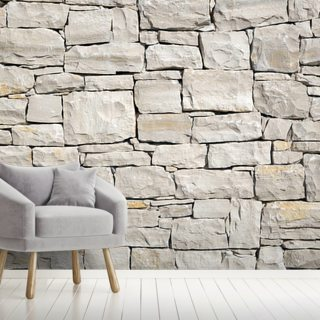 Stone Wall - White Wallpaper Wall Murals