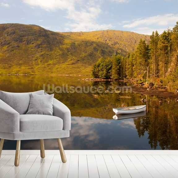 Lonely Boat Lonely Loch wallpaper mural room setting