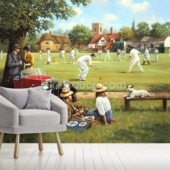Cricket on the Village Green wall mural room setting