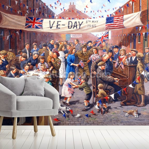 VE Day Celebration wallpaper mural room setting