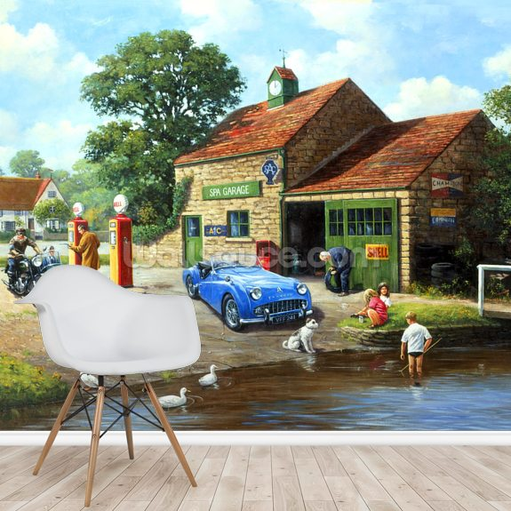 The Village Pumps wallpaper mural room setting