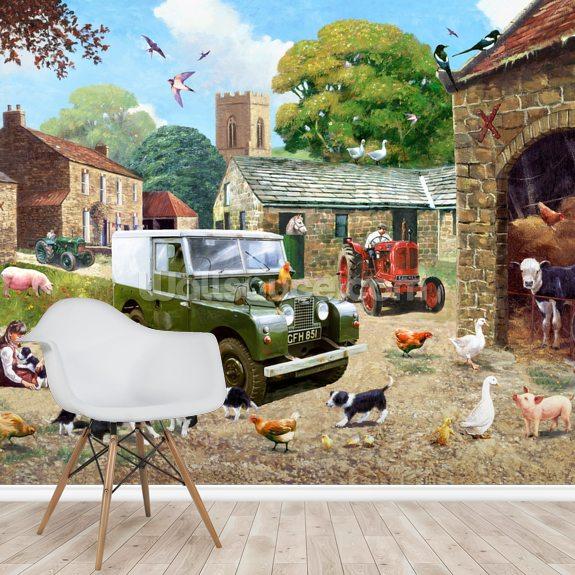 Down on the Farm wall mural room setting