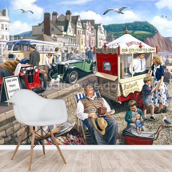 Happy Days Sidmouth wallpaper mural room setting