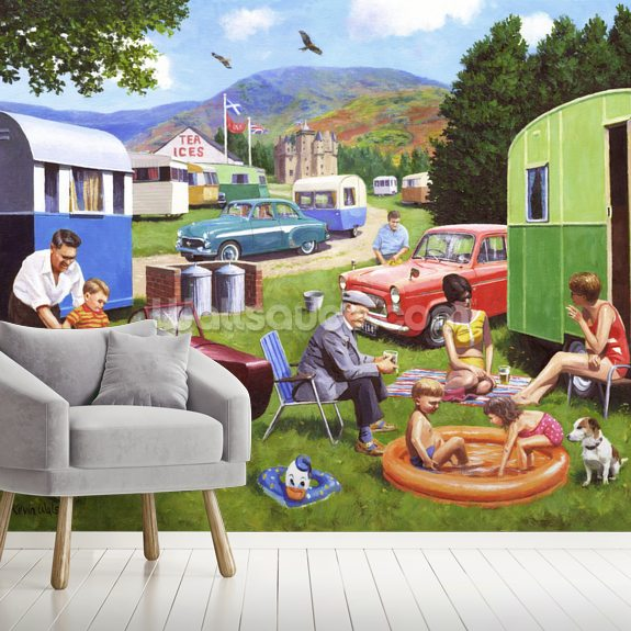 Caravanning in the Highlands wallpaper mural room setting
