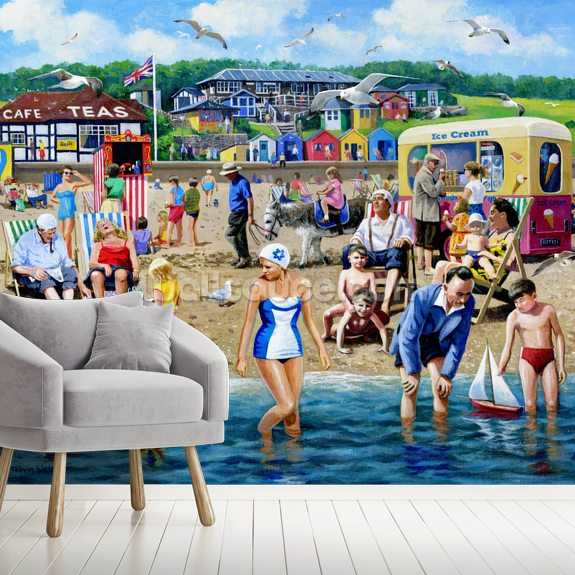 At The Beach mural wallpaper room setting