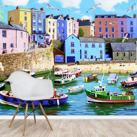 Happy Days Tenby wallpaper mural room setting