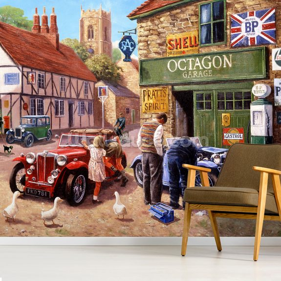 The Village Garage by Kevin Walsh wallpaper mural room setting
