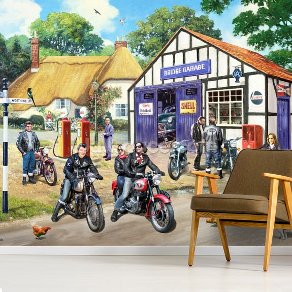 Rockers on the Road mural wallpaper room setting