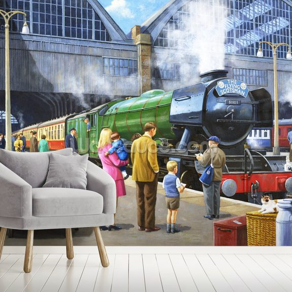 Flying Scotsman at Kings Cross mural wallpaper room setting