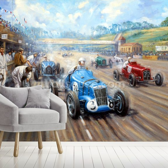 Back in the Race at Brooklands wallpaper mural room setting