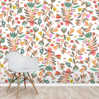 Birdsong - White Wallpaper Wall Murals