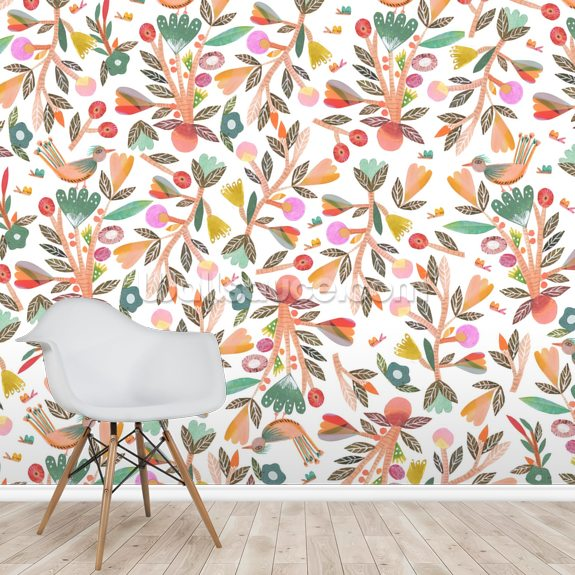 Birdsong - White wall mural room setting