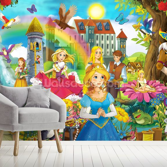 The Fairy Tales wallpaper mural room setting