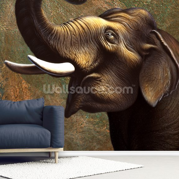 Indian Elephant wallpaper mural room setting