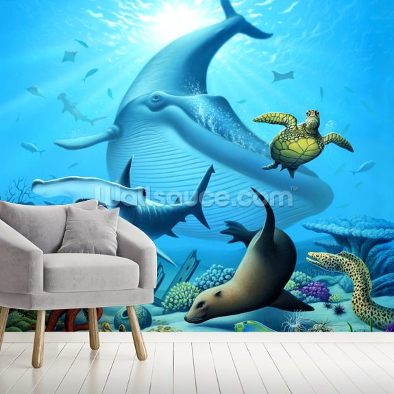 Ocean Life wall mural room setting