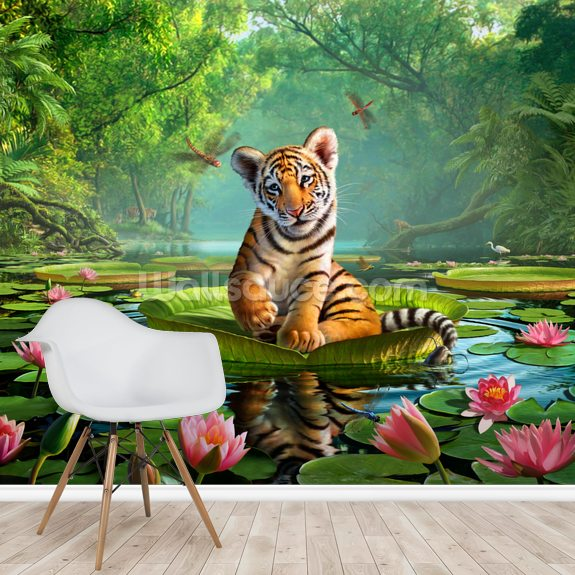 Tiger Lily wall mural room setting