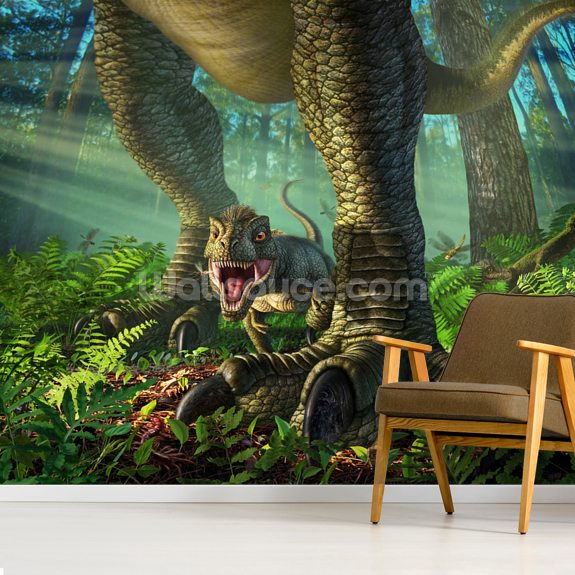 Wee Rex wall mural room setting