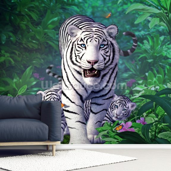 White Tigers wallpaper mural room setting