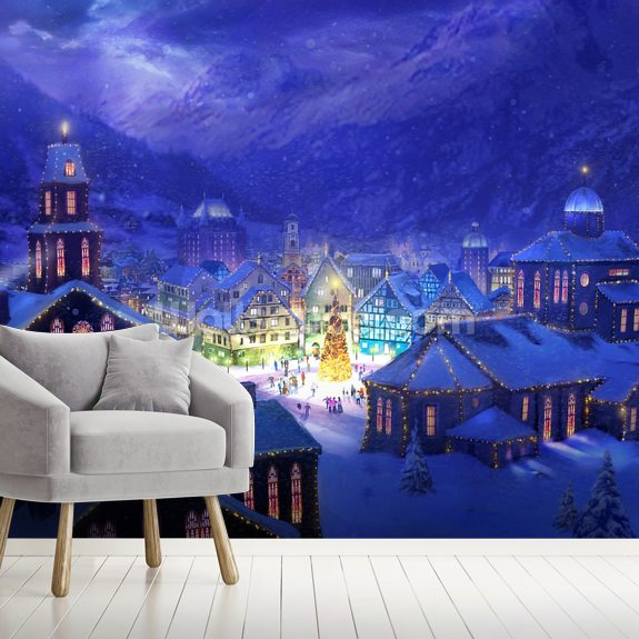 Christmas Town wall mural room setting