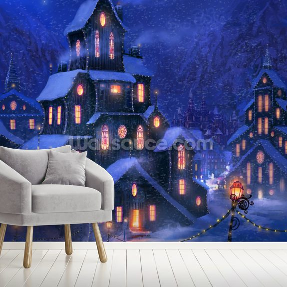 Coming Home mural wallpaper room setting