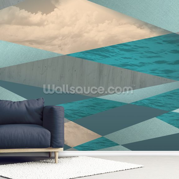 Ocean Tones wall mural room setting