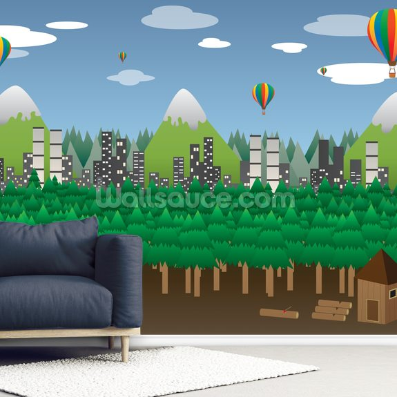 Balloon Landscape wall mural room setting