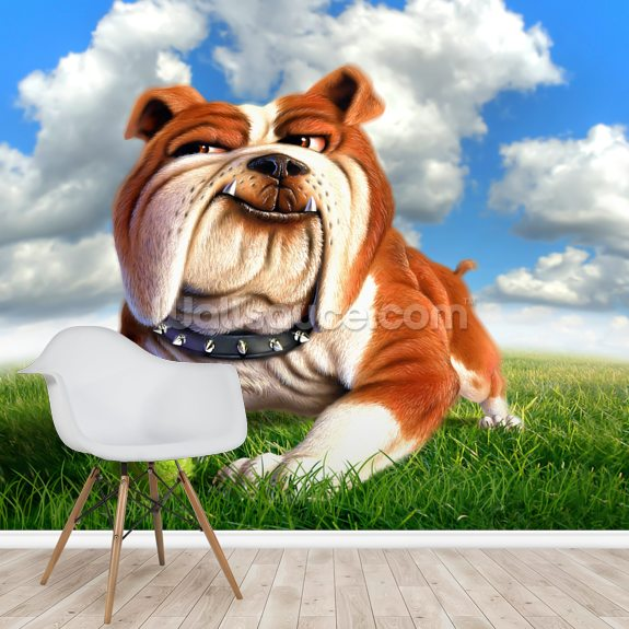 Bulldog wallpaper mural room setting