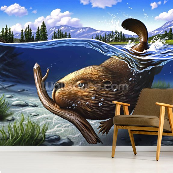 Busy Beaver mural wallpaper room setting
