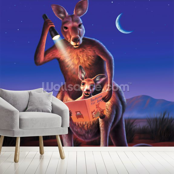 Kangaroos wall mural room setting