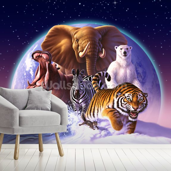 Mammals mural wallpaper room setting