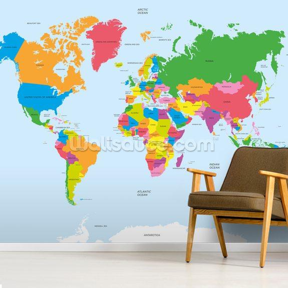 Politisk Kort Over Verdens Tapetmaleri Wallsauce Dk