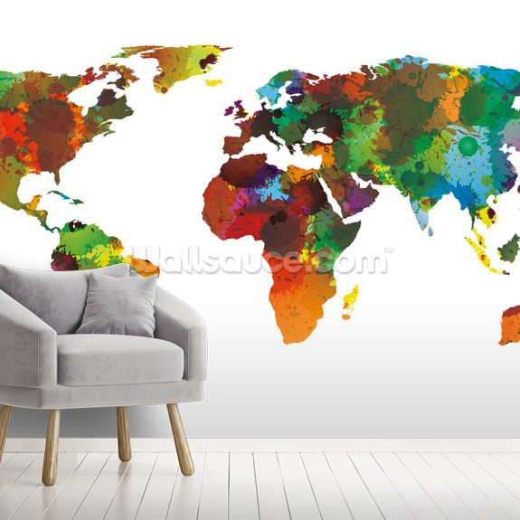 World Map Water Colours mural wallpaper room setting