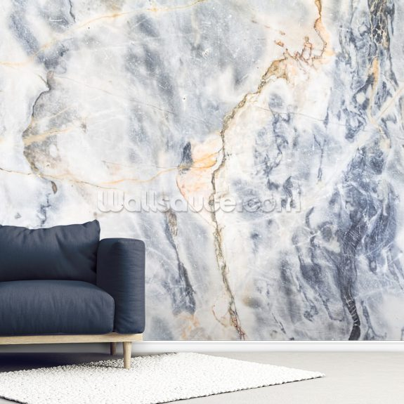 White and Blue Marble Effect wall mural room setting