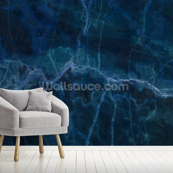 Dark Blue Marble mural wallpaper room setting