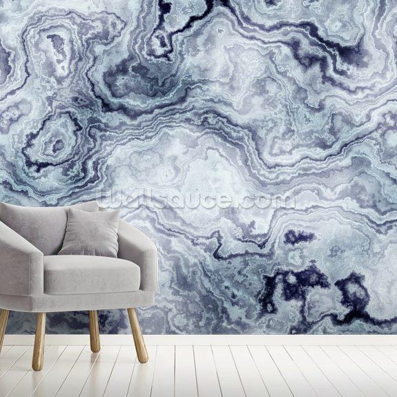 blue swirl marble wall mural wallpaper mural wallsauce ukblue swirl marble wall mural wall mural room setting
