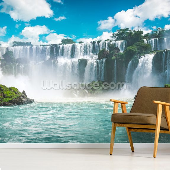 Iguazu Waterfalls in Brazil mural wallpaper room setting
