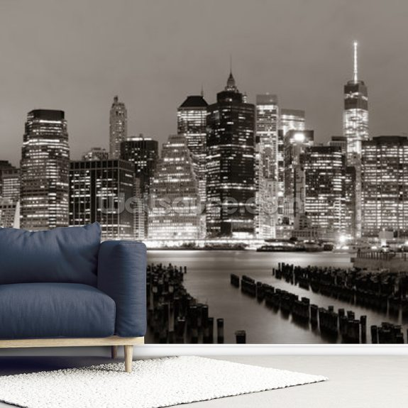 New York at Night mural wallpaper room setting