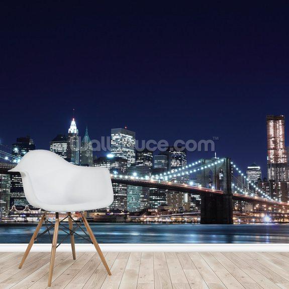 Brooklyn Bridge And Manhattan Skyline At Night New York City Wallpaper Mural Wallsauce Us