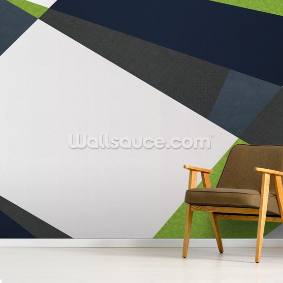 Green and Blues wallpaper mural room setting